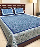 Uniqchoice Jaipuri Designer Printed 100% Cotton Rajasthani Traditional Print King Size Double Bedsheet With Zipped 2 Pillow Cover(Multicolor.....)