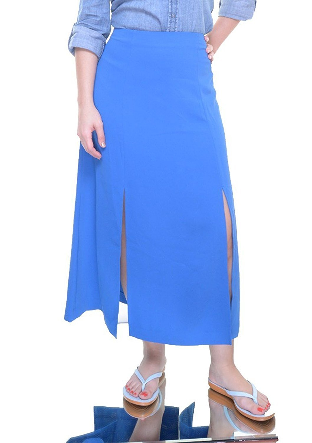 Lauren Ralph Lauren Midi Length Split Skirt, Atmosphere Blue (14)