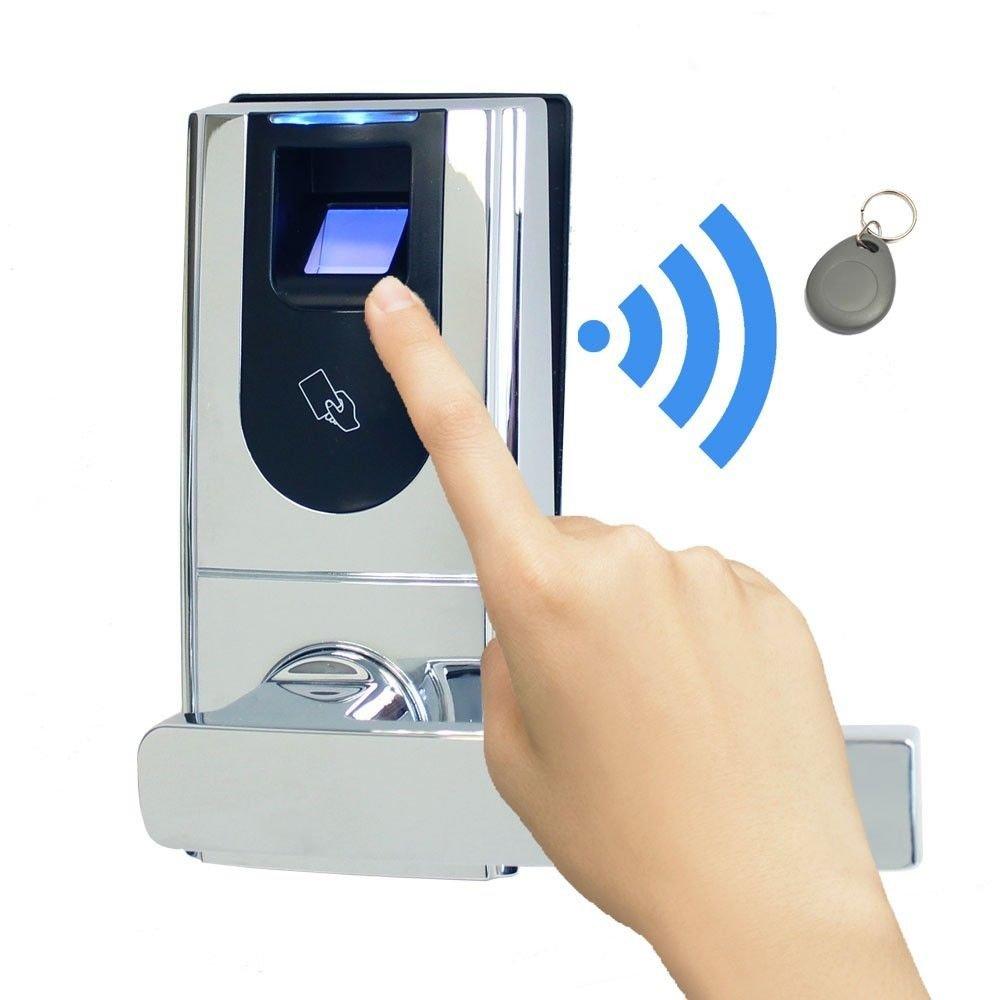 Biometric Fingerprint Keyless Entry Door Lock + RFID FOB READER +  Mechanical Key Left Or Right Hand Reversible Great For Home Office Resort  Apartment ...