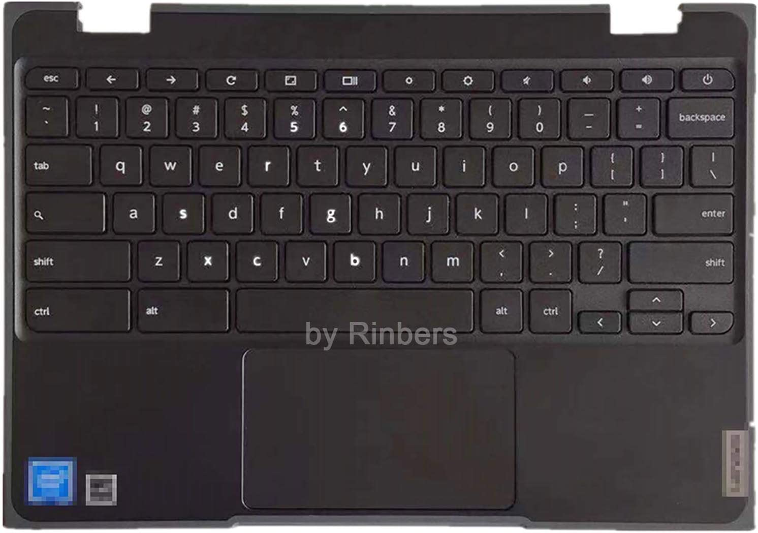 Rinbers Palmrest Upper Case with US Keyboard and Touchpad Assembly Replacement for Lenovo Chromebook 11 100e 2nd Gen 81MA 5CB0T79741 GLKR 5CB0Y57920 (NOT for 100e Gen 2 MTK Version)