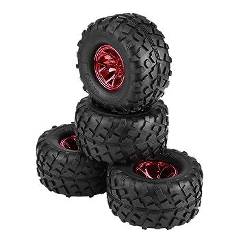 Dilwe 4Pcs Neumáticos del Coche, Llantas de Esponja Interna Neumáticos + Plástico Cubos de Rueda para HSP HPI 1:10 RC Trucks(Rojo): Amazon.es: Juguetes y ...