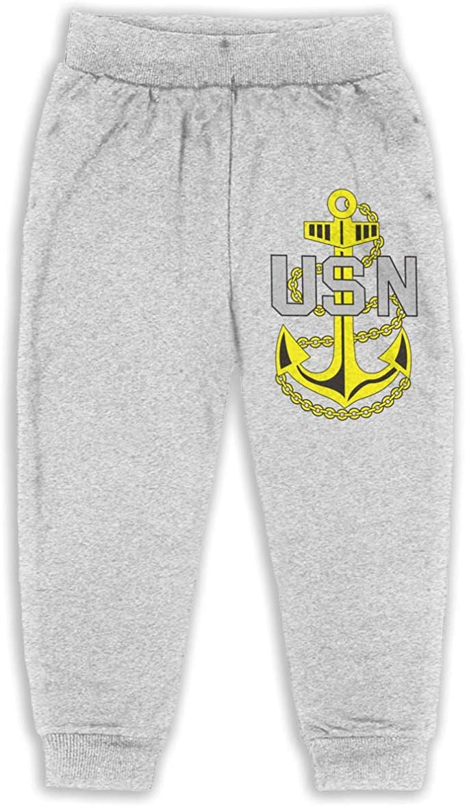 US Navy Chief Petty Officer Logo Kids Cotton Sweatpants,Jogger Long Jersey Sweatpants