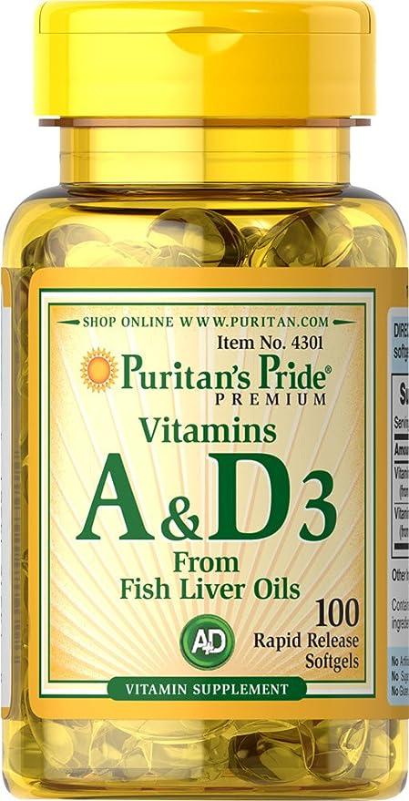 Vitamina A (5000 IU)  & D (400 IU) 100 cápsulas. (