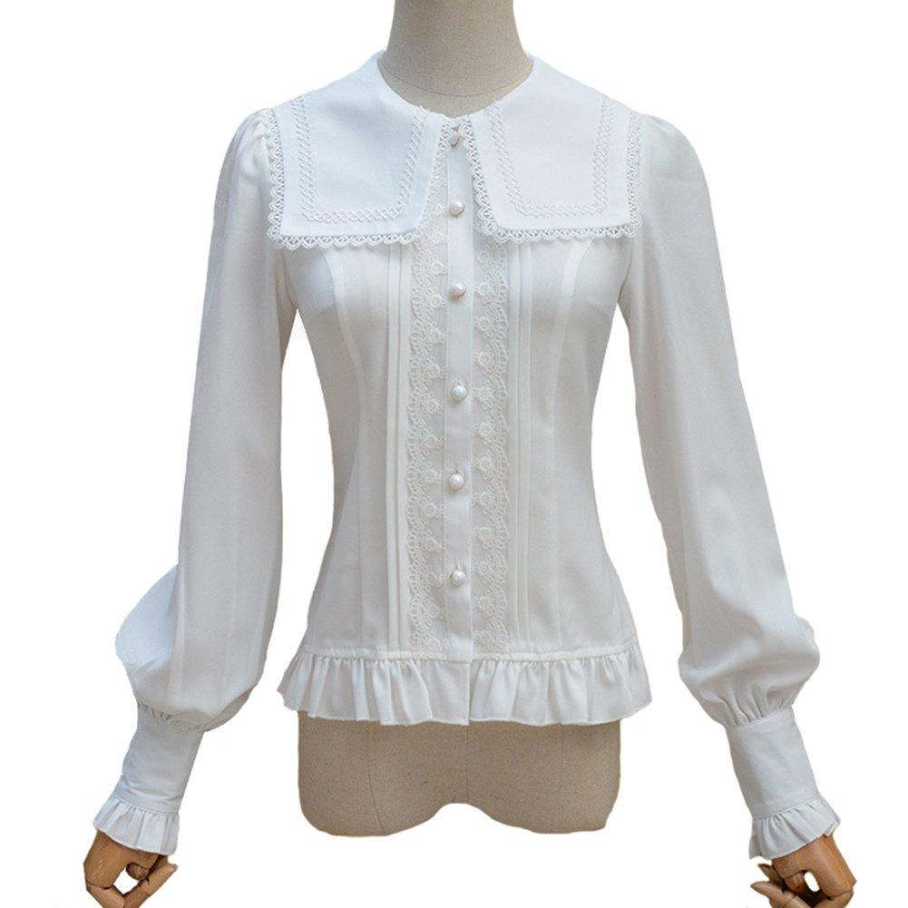 Smiling Angel Women Lolita Lace Shirt Retro Victorian Blouse