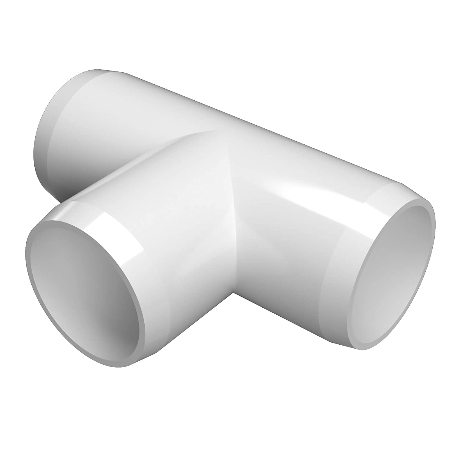 "FORMUFIT F012TEE-WH-10 Tee PVC Fitting, Furniture Grade, 1/2"" Size, White (Pack of 10)"