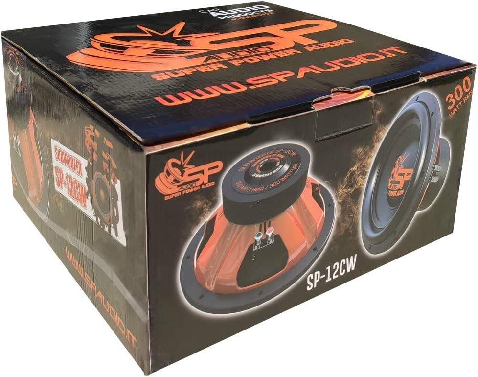 1 SP AUDIO SP-12CW subwoofer 12 30,00 cm 300 mm diametro doppia bobina dvc 2+2 ohm 300 watt rms 900 watt max 88 db cofano bagagliaio auto 1 pezzo