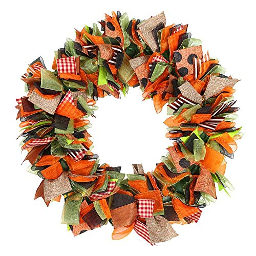 Naler Thanksgiving Fall Autumn Deco Mesh Welcome Door Wreath Brown Green Burlap Orange