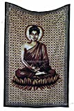 Amitus Exports(TM Premium Quality 1 X Meditating Buddha 82''x 54''(Approx.) Inches Brown Maroon Color Cotton Fabric Tapestry Hippy Indian Mandala Throws (Handmade in India)