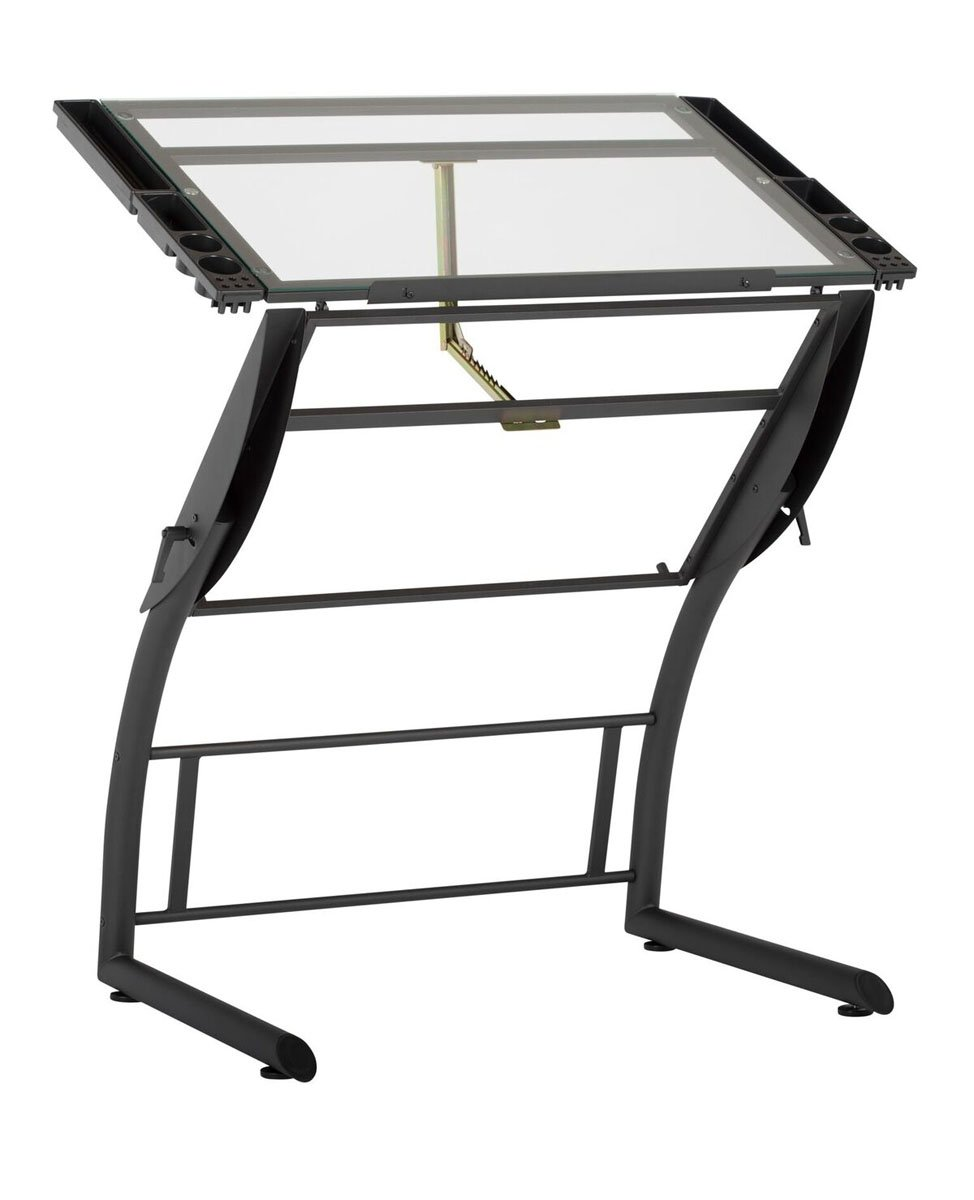 Offex Home Triflex Drawing Table Charcoal/Clear Glass