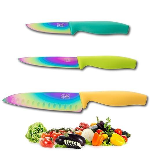 Juego De Cuchillos Iridiscentes - 3 Cuchillos De Cocina ...