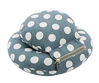 Removable and Washable Plush Double Sleeping Pillow, Dark Green and White Dots Gentle Meow