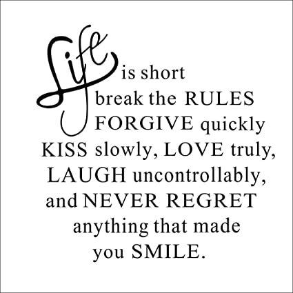 Amazoncom Life Is Short Quote Art Pvc Vinyl Removable Decal Home