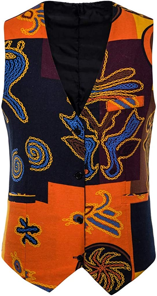 ForgetMe Men Suit Vest Slim Fit V Neck Sleeveless Casual Wedding Waistcoat Business Casual Waistcoat Suit Vest Autumn Winter Folk-Custom Button Printed Waistcoat Vest Top for Suit or Tuxedo