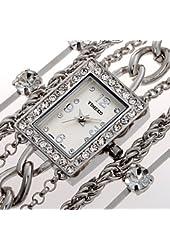 Time100 Diamond Square Dial Jewelry Chain Silver Bracelet Ladies Watch #W50032L.03A