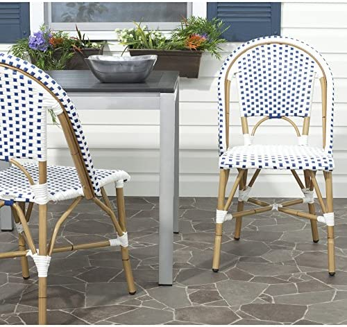 Safavieh Home Collection Salcha Blue and White Indoor Outdoor Stacking Side Chair Set of 2