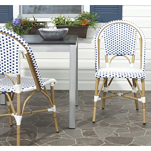 Safavieh Home Collection Salcha Blue and White Indoor/Outdoor Stacking Side Chair (Set of 2) (White Sets Wicker Outdoor Dining)