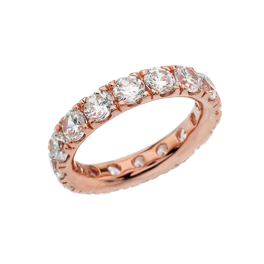 14k Rose Gold 4mm Comfort Fit Eternity Band With White Topaz (Size 7.25)