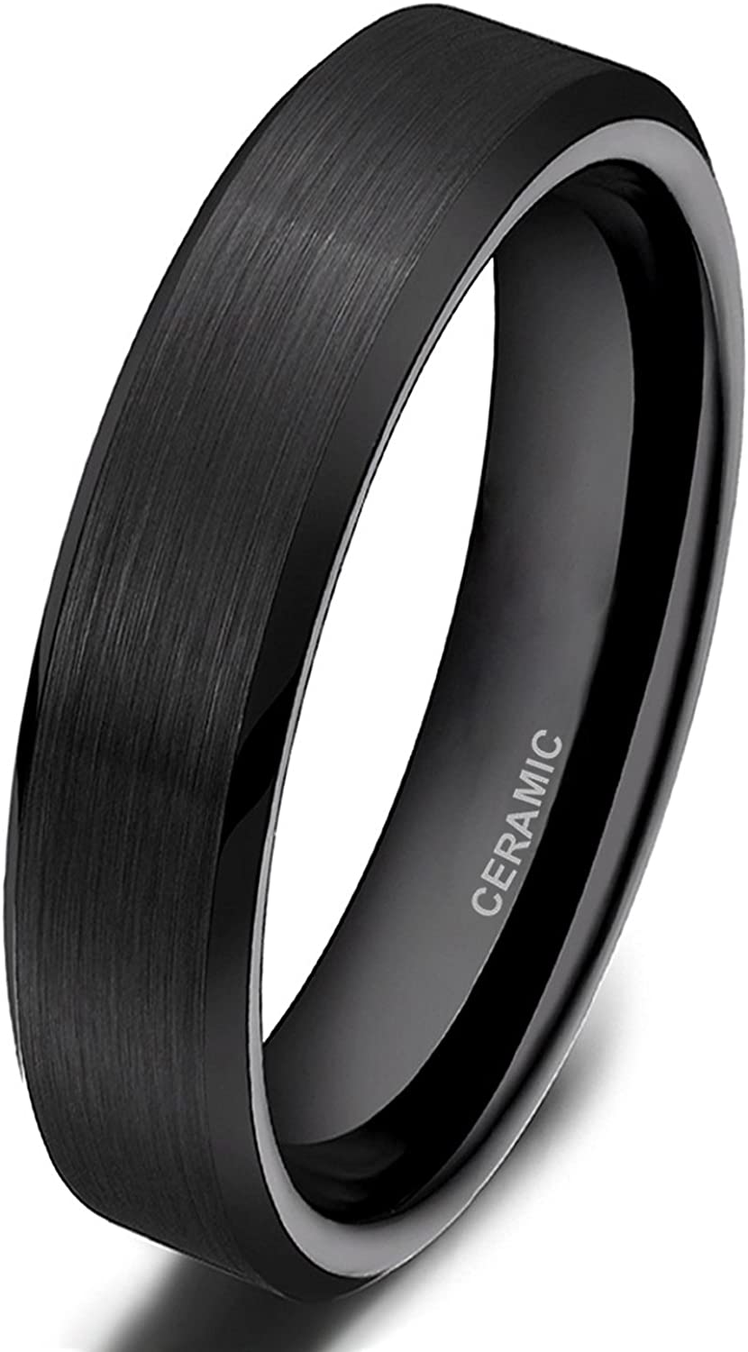 Ceramic Black 8mm Brushed and Polished Band Ring 6 to 13 Size