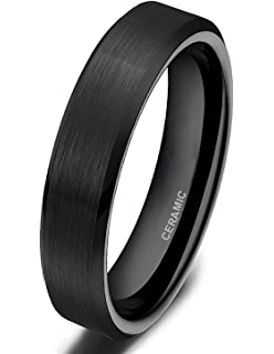 stainless steel shiny polished black plain band ring comes with