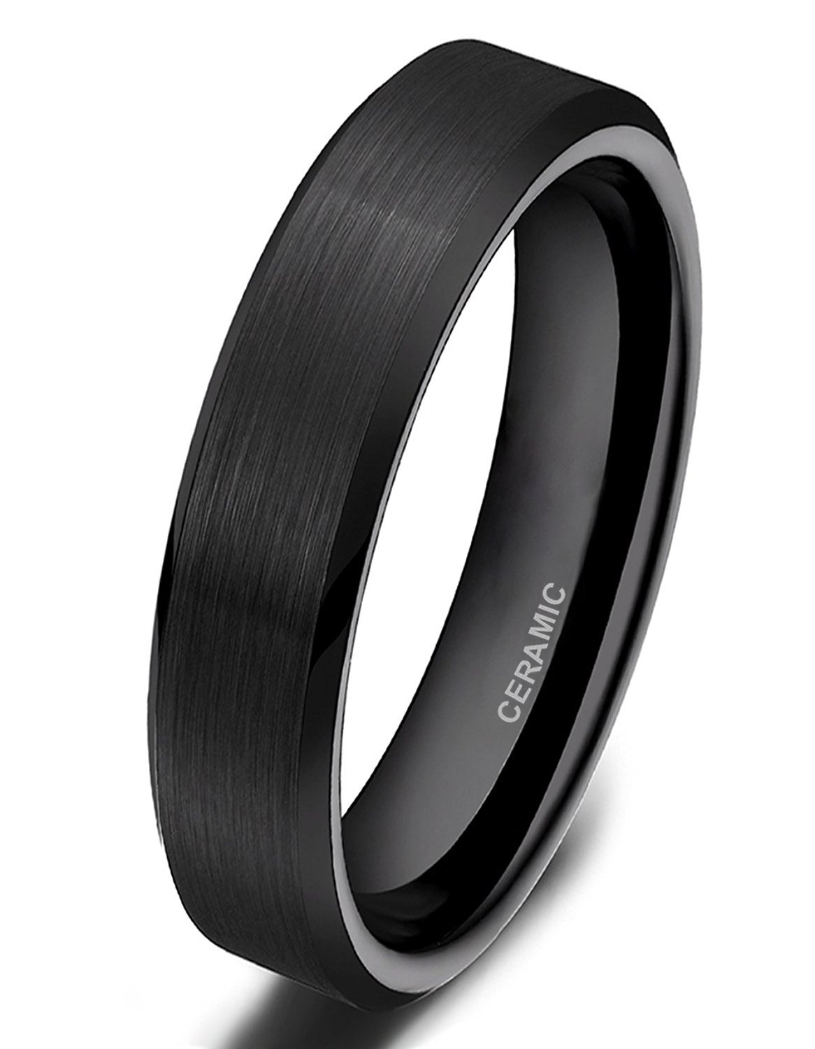 SOMEN TUNGSTEN 4mm 6mm 8mm Black Ceramic Rings Brushed Comfort Fit Wedding Band for Men Women Size 4-14