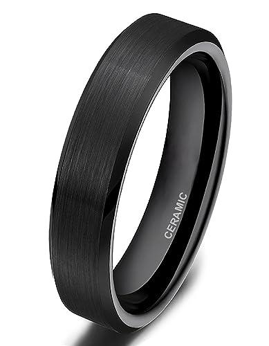 Somen Tungsten 4mm Ceramic Black Brushed Comfort Fit Wedding Ring 4