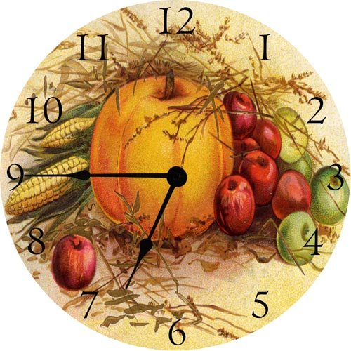 Thanksgiving Pumpkin and Fruit Wall Clock