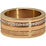 Quiges Rose Gold Stainless Steel Cubic Zirconia Multi Colour Stackable Ring Set with 3 Inner Rings and 1 Base Ring Set
