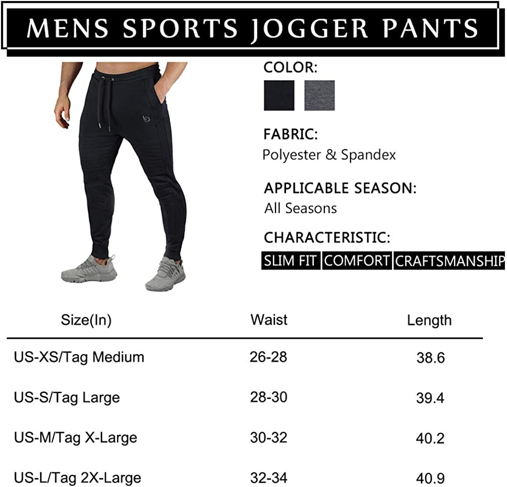 Musgneer Mens Gym Sports Workout Jogger Pant Slim Fit Sweatpant with Pockets Running Trousers