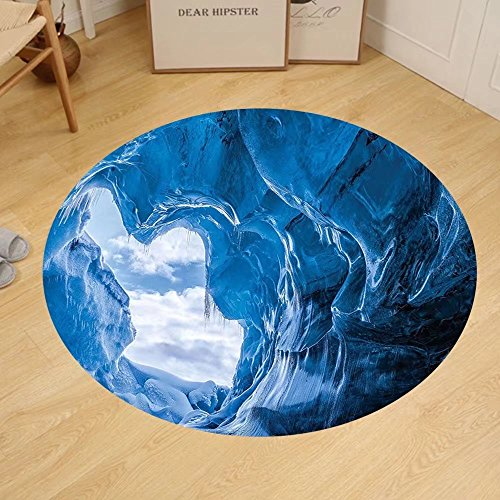 Gzhihine Custom round floor mat Natural Cave Decorations Latent Pavilion in Between the Cliffs Discovery of Faith in the Nature Art Picture Bedroom Living Room Dorm Decor Multi by Gzhihine