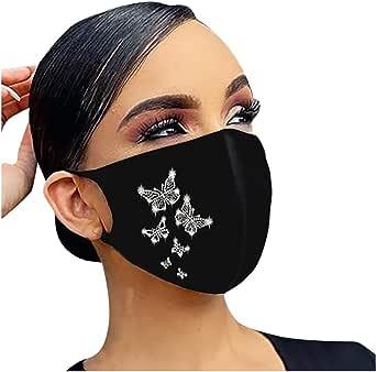 Rhinestone Face_Masks Christmas Snowflake Balaclava Xmas Unisex Reusable Windproof Anti-Dust Mouth Bandanas for Women