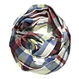 Bowbear Soft Touch Tartan Infinity Scarf, Gray and Burgundy