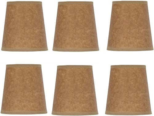 Upgradelights Oiled Parchment 4 Inch Barrel Drum Clip On Chandelier Shades Set of 6 3x4x4