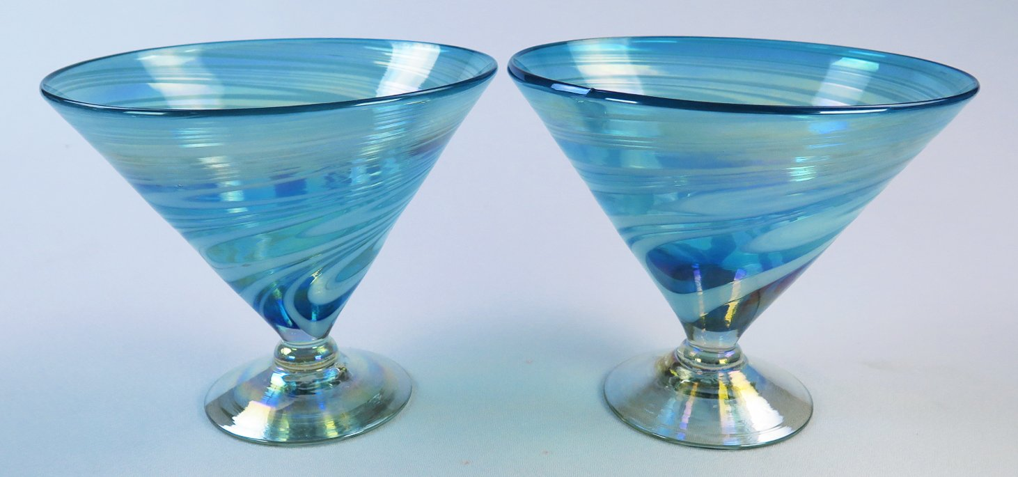 Mexican Glass Turquoise White Swirl Margarita or Martini (short) Set of 4 by Mexican Margarita Glasses (Image #4)