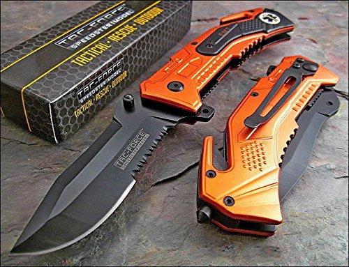 TAC-FORCE Spring Assisted Open EMT ORANGE Tactical RESCUE Folding Pocket Knife