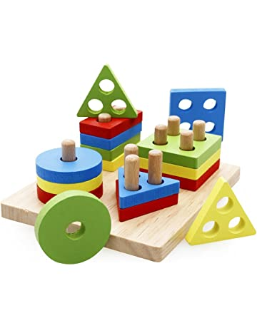 073a3b6921f32 rolimate Wooden Educational Shape Color Recognition Geometric Board Block  Stack Sort Chunky Puzzle Toys