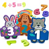 Foam Numbers Educational Bath Toys for Kids 27 Count for Pre-School - Fun Colorful Cartoon Animal Characters - Toys Float and Come With Bonus Mesh Bag for Storage & Quick Dry - Kids Learn Numbers