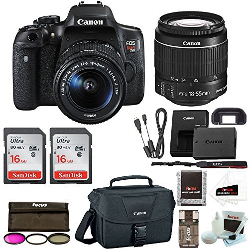 Canon EOS Rebel T6i Digital Camera: 24 Megapixel 1080p HD Video WiFi Enabled DSLR Bundle with Wide Angle 18-55mm Lens 2X 16GB SD Card Filters Bag & More - Professional Vlogging Sports &Action