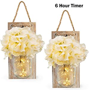 Vinkki Rustic Mason Jar Sconces for Home Decor Silk Hydrangea Flower Light Wall Decor with 3 Meters 30 LED Strip Lights 6 Hours Timer Fairy Lights for Farmhouse Kitchen Decoration (Set of 2