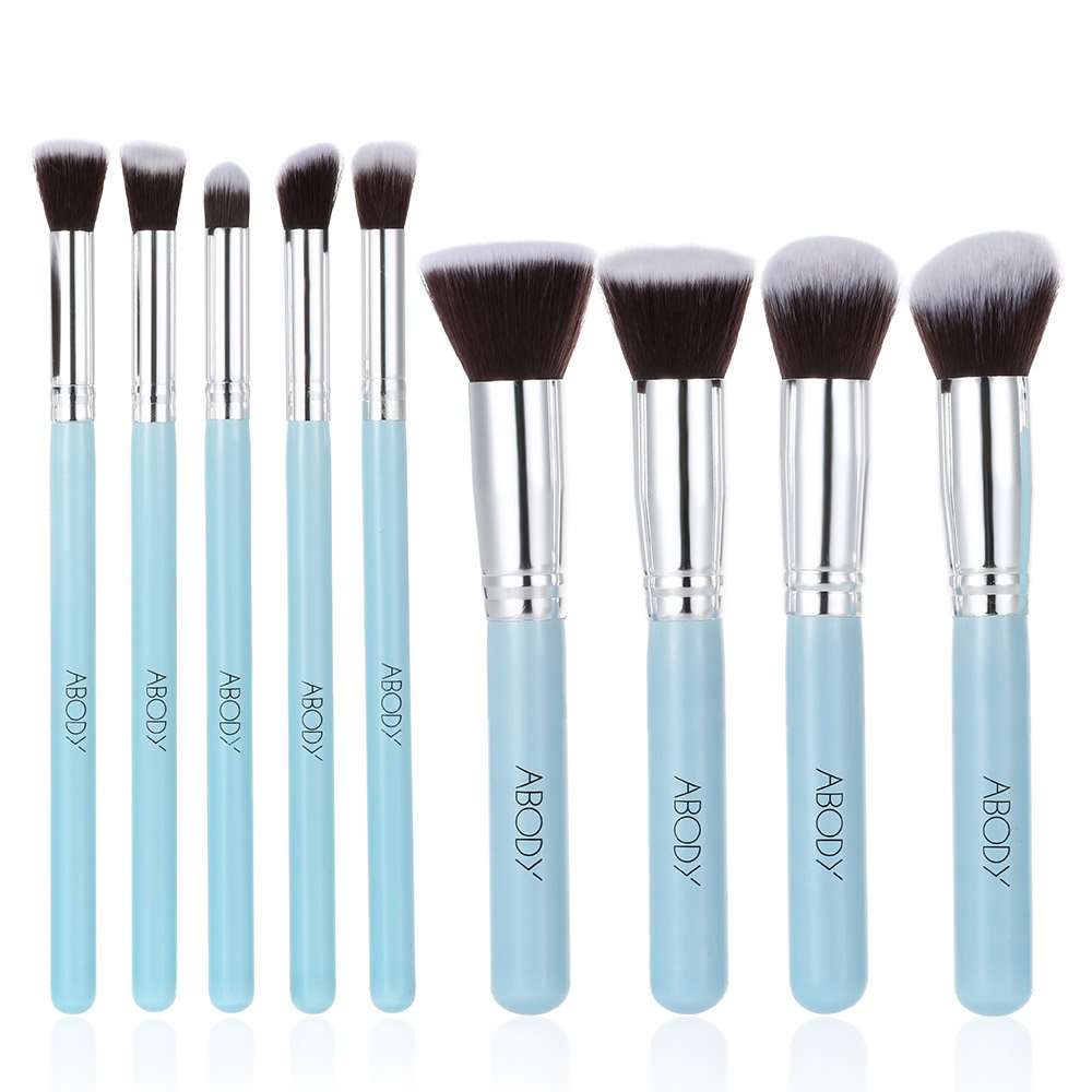best eyeshadow brush set. abody 9pcs makeup brush kit wood professional cosmetic set foundation powder eyeshadow brushes blue: amazon.co.uk: beauty best s