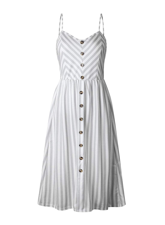 FUTURINO Damen V Ausschnitt Sommerkleid Spaghettiträger Kleid Elegant Vintage Cocktailkleid Kleider