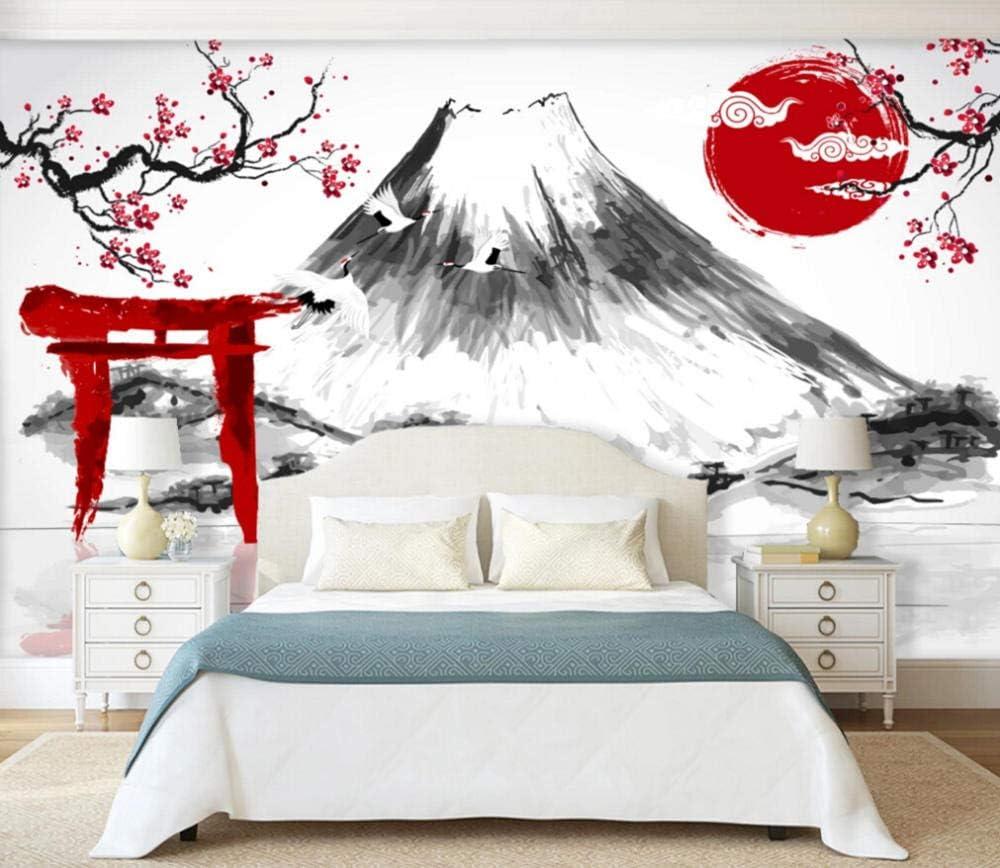 Personnalis/é 3D Photo Murale Papier Peint Fleur De Prunier Du Mont Fuji Abstrait Noir Et Blanc Papier Peints Pour Salon Chambre Int/érieur De La Maison