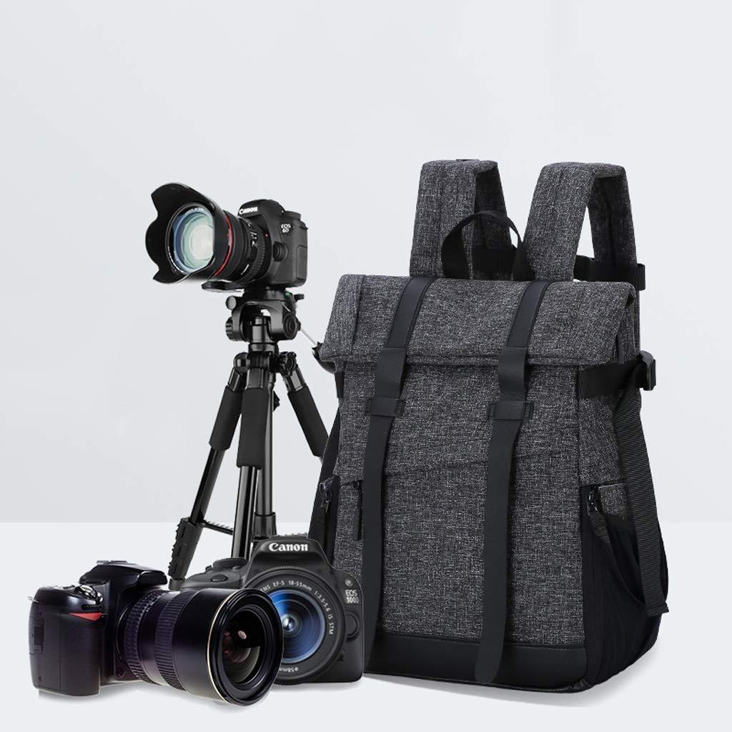 Rnalley Fashion Canvas Camera Bag DSLR SLR Camera Shoulder Waterproof Men and Women Micro Single Portable Professional Camera Backpack,Brown