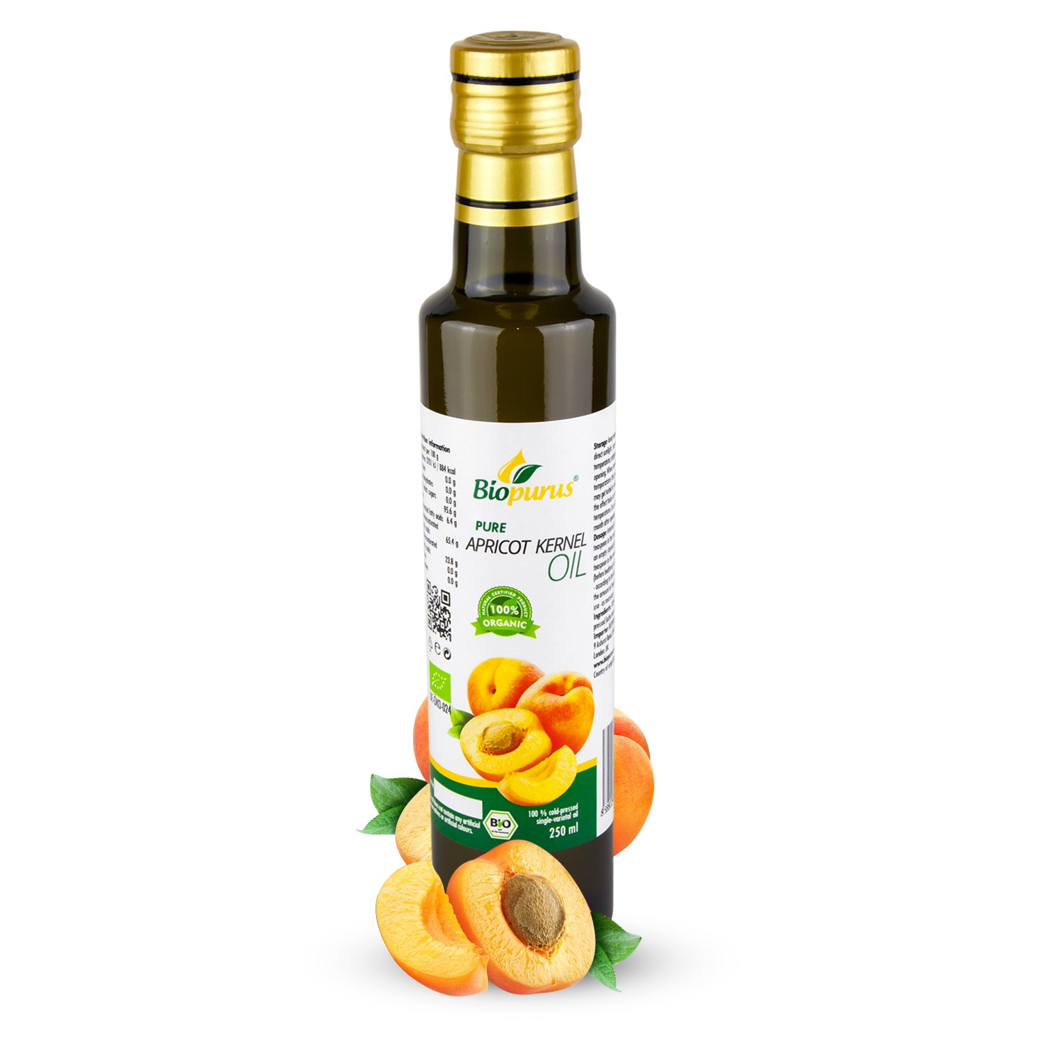 Certified Organic Cold Pressed Apricot Kernel Oil 250ml Biopurus Germany