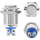 "Momentary Metal Push Button Switch, Waterproof Start Button for 12mm 1/2"" Mounting Hole"