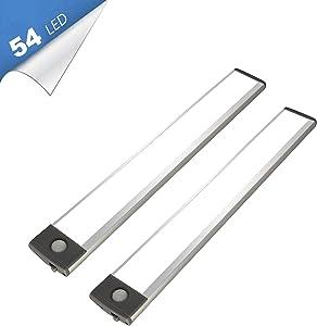 54 LED Under Cabinet Light, 2500mah Rechargeable Wireless Motion Sensor Closet Light, Aluminum LED Panel 6500K Super Bright, Ultra Thin, Glare-Free Lighting for Removable Paste Anywhere (2)