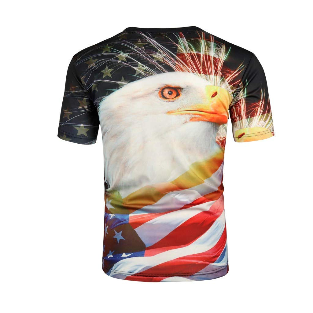 Mens Summer Independence Day 3D Printing Short Sleeves Blouse Top