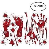Soochat Bloody Footprints Floor Clings Bloody Handprint Window Clings Decals,Halloween Horror Zombie Walking Dead Party Decorations (6 Pcs)