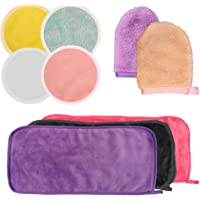 9 stks Herbruikbare Make-up Remover Doek, CNYMANY Microfiber Reinigingshanddoek Bamboe Fiber Katoen Pad Gezicht Lip…