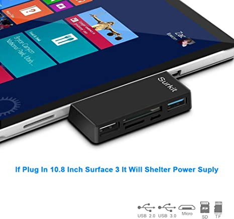 Surface Pro Hub Adapter/Card Reader, High Speed USB 3.0 Transport and USB 2.0 for Mouse or Keyboard with SD(HC) Card Slot and TF Card Reader for ...