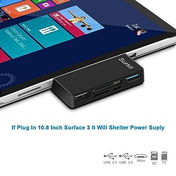 Opluz Surface Pro Hub/Lector de Tarjetas de Adaptador, Alta Velocidad USB 3.0 y USB 2.0 para Transfort ratón o el Teclado con Ranura SD (HC) y Lector ...